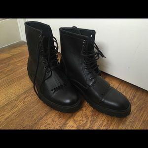 Shoes - Black vegan leather combat boots